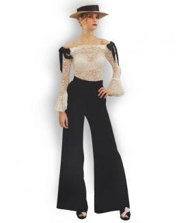 vestidos-de-fiesta-miami-blusa-encaje-lazo- negro
